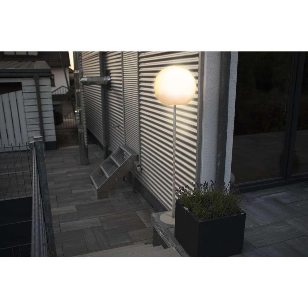 SUNBEAM E27 Outdoor Standleuchte, 157 cm, IP64, weißer Schirm