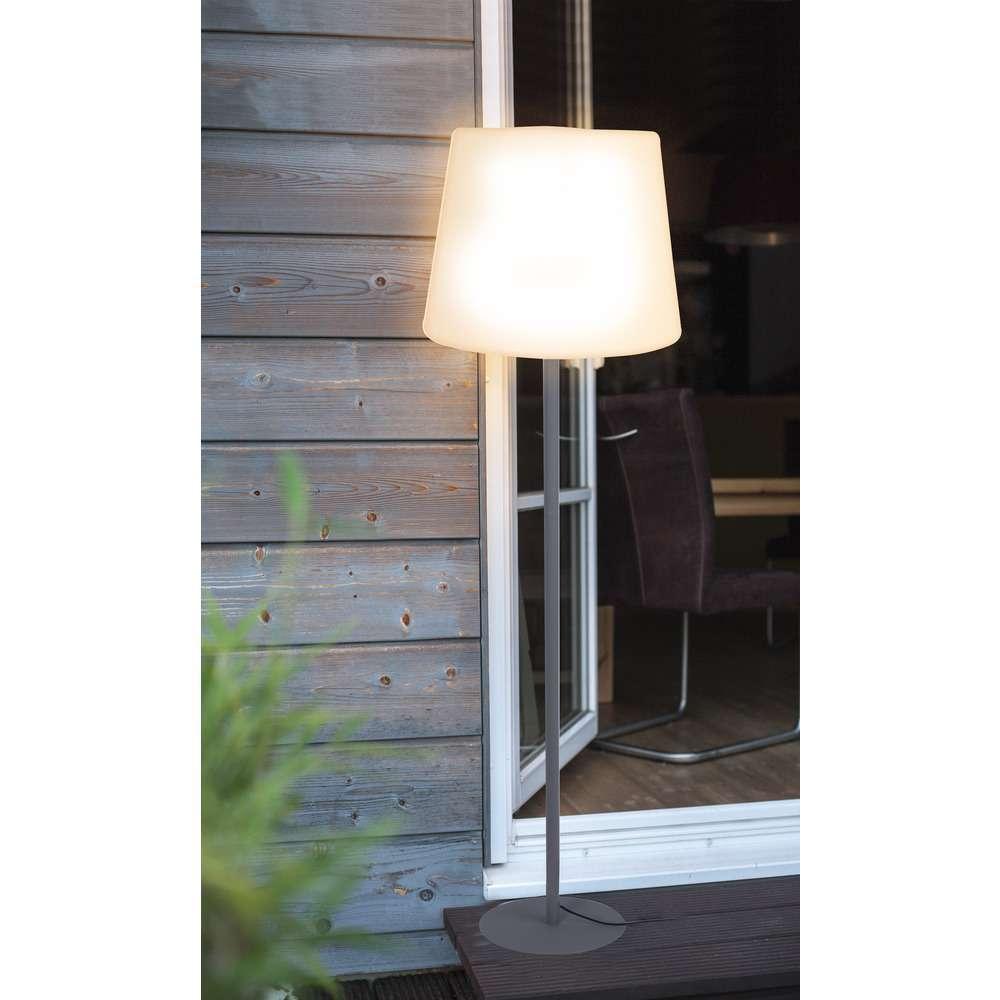 HOLIDAY E27 Outdoor Standleuchte, 148 cm, IP64, weißer Schirm