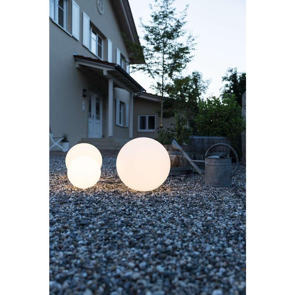 MUNDAN Outdoor Leuchtenkugel E27, 60 cm, weiß, IP44, inkl. 3m Leitung/Stecker und Erdspieß weiß