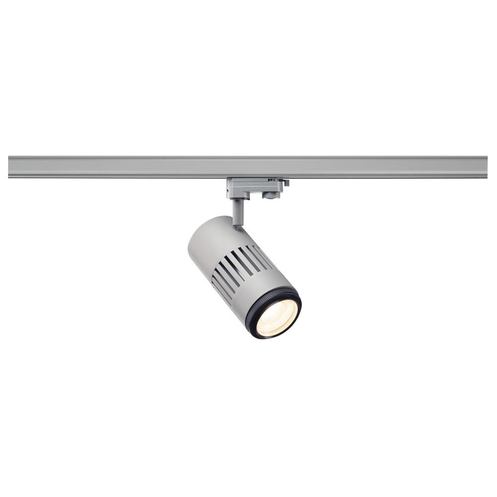 LED Zooming Lens Strahler für 3-Ph.HV-Schiene STRUCTEC, 3000K, 20-60°, inkl. 1 Ph.-Adapter silber